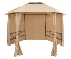 Marchiza pavilion de gradina, perdele, hexagonal, 360x265 cm