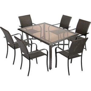 Set mobilier gradina/terasa Kring Amalfi, masa, 6 scaune, maro