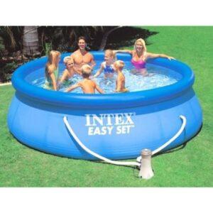 Piscina gonflabila circulara Family Intex Easy, 305 x 76 cm, pompa de filtrare si recirculare a apei inclusa, ideala pentru familie