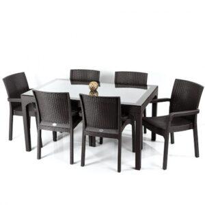 Set mobilier gradina/terasa, olympya , masa cu 6 scaune, maro