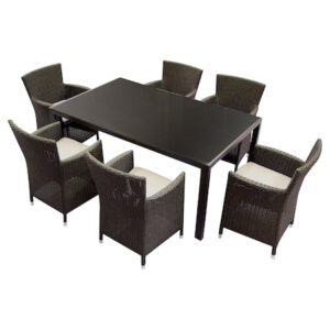 Set mobilier gradina/terasa, Kring Thomas, masa cu 6 scaune, 167.5x101.5x73, maro
