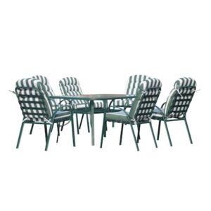 Set Masa + 6 Scaune Gradina, Verde/Alb, Cadru Aluminiu, Blat Sticla Securizata 5 Mm